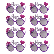 8pcs Novelty Fun Purple Rose Heart Crown Hen Sunglasses Goggles Fancy Dress for Night Party Stag Parties
