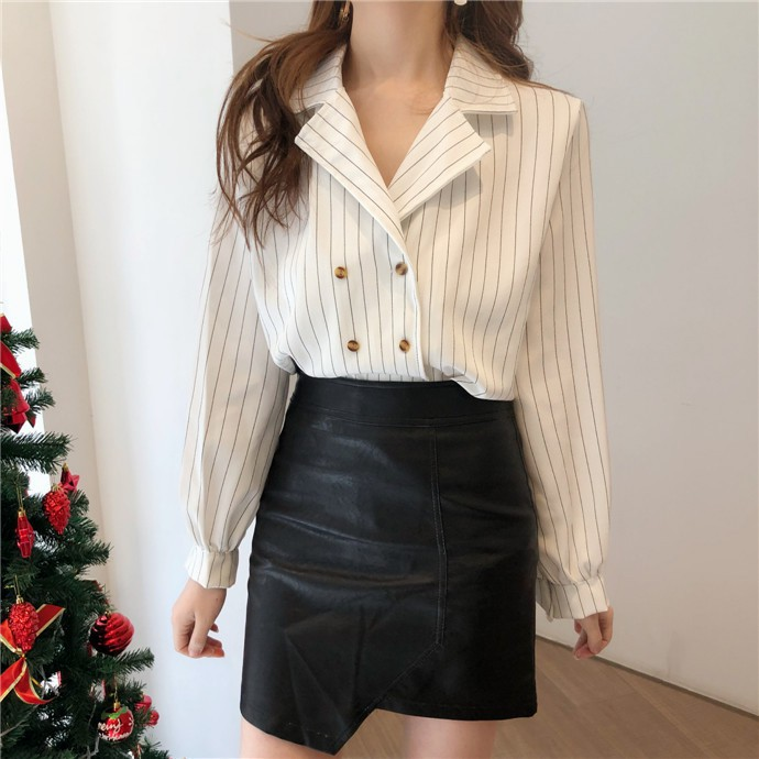 Shirts Women Simple Retro Striped All-match Double-breasted Korean Style Students Notched Womens Elegant Blouses Loose Chic 2019 31