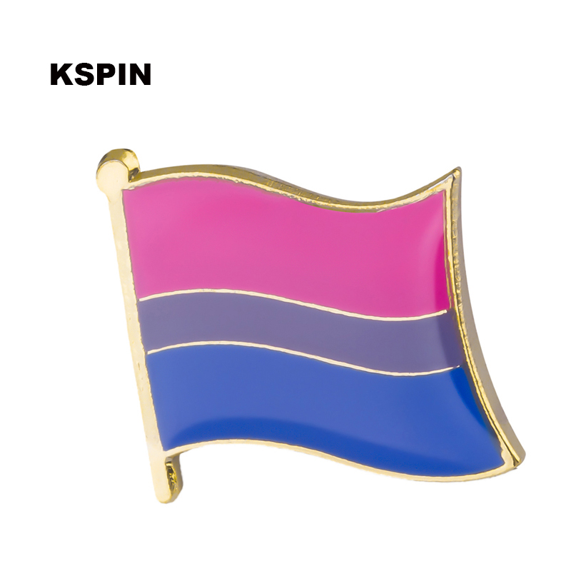 Bisexual pride flag lapel pin badge pin 300pcs a lot Brooch Icons XY0136-in Badges from Home & Garden    1
