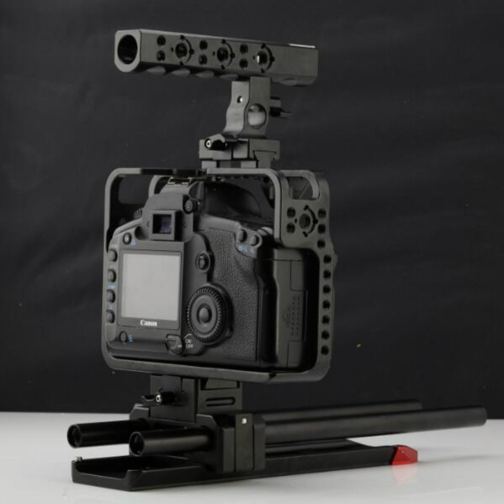 NEW 15mm 5D2 5D3 5D4 DSLR Rig Kit Cage Baseplate Cage Quick Release top handle for CANON 5D2 5D3 5D4 Camera aluminum dslr camera cage kit support for canon 5d mark ii 7d 60d 15mm rod rig
