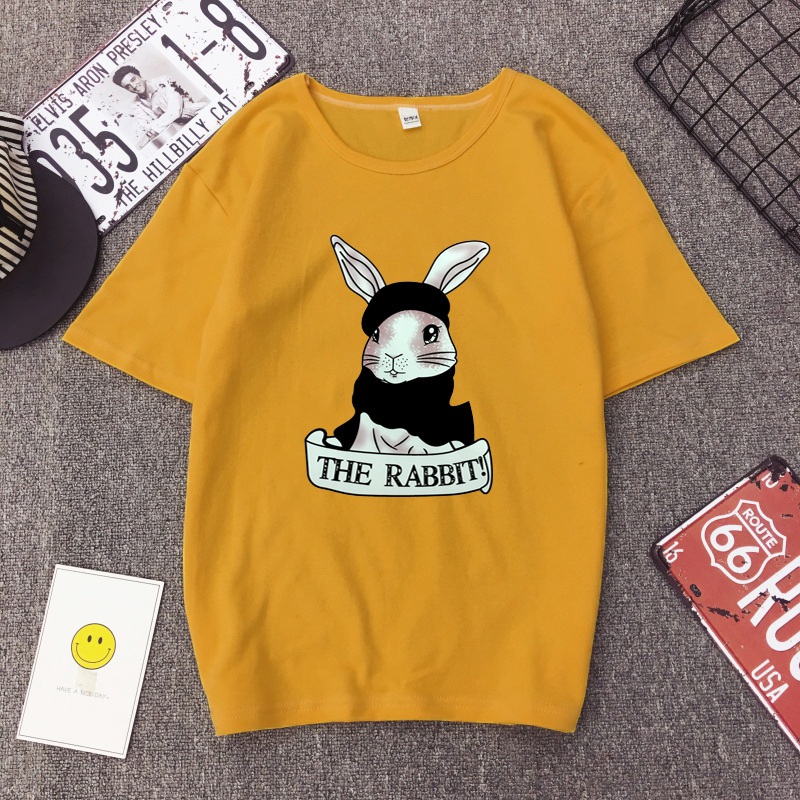 Cute Rabbit Print Women Tshirt High Quality Short Sleeve Round Neck Cotton Spandex Women Tops Casual Loose Women T-shirt 11