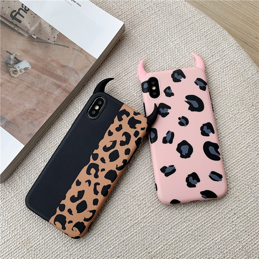 Devil Horns Leopard Print Case For iphone XS Max XR X Case For iphone 6 6s 7 8 plus Back Cover Luxury Soft Cases Colorful Capa