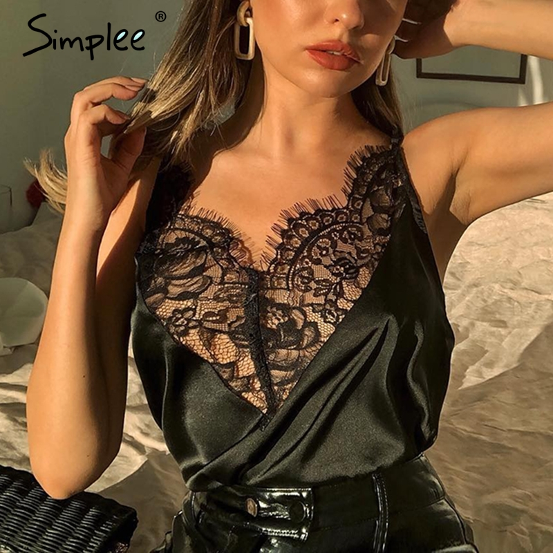Simplee Streetwear satin lace splice camis   top   women Sexy v neck transparent   top   2019 Autumn winter female cropped   tank     top