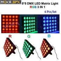6pcs 25*30W Led Matrix Lights DMX RGB 3 in 1 Stage Lightings DJ Equipment for Disco Bar Nightclub Wedding Stage Party Decoration