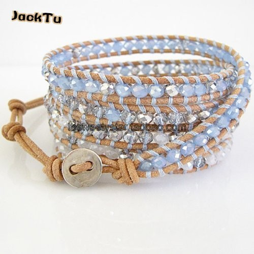 2017 Free Shipping blue and white silver crystal leather wrap bracelet