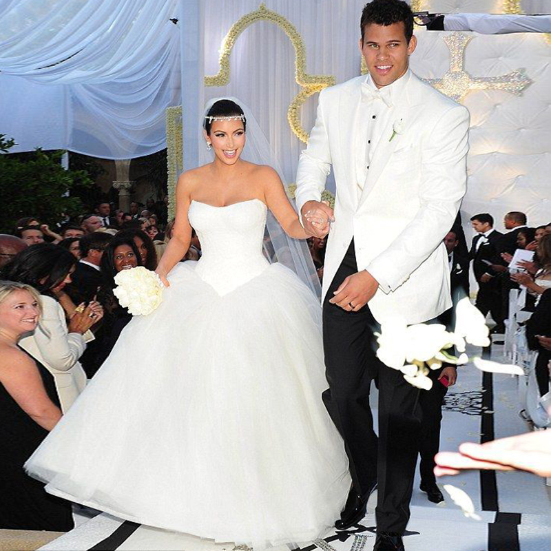 lace White Ball Gown Kim Kardashian Wedding Dresses Lace Sweetheart ...