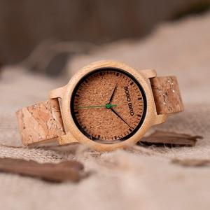 Image 5 - ボボ鳥愛好家竹クォーツカップルの腕時計2020トップブランドファッションコルクストラップ腕時計時計レロジオfemininoドロップシップ