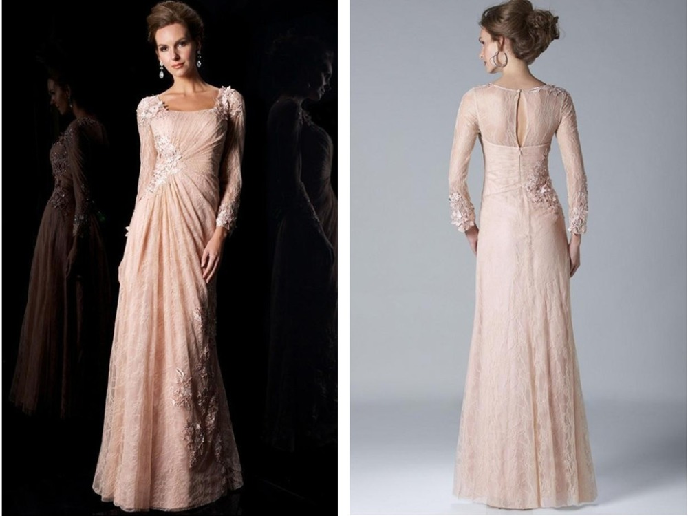 Long Sleeve Lace Mother Of The Bride Dresses 2015 Party Gowns appliques A-Line new Fashion Women Vestido De Madrinha Open Back