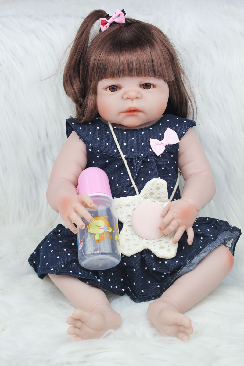55cm Full Body Silicone Reborn Girl Baby Doll Toys 22inch Newborn Princess Toddler Babies Dolls Bathe Toy Play House Toy Doll 18inches newest princess girl full body reborn doll silicone dress toys for children full silicone reborn newborn baby dolls