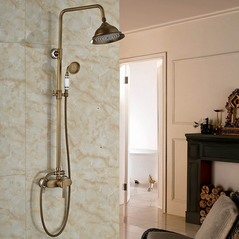 Antique Single Lever Brass Ahower Faucet Set Wall Mount Outdoor Shower Column with 8