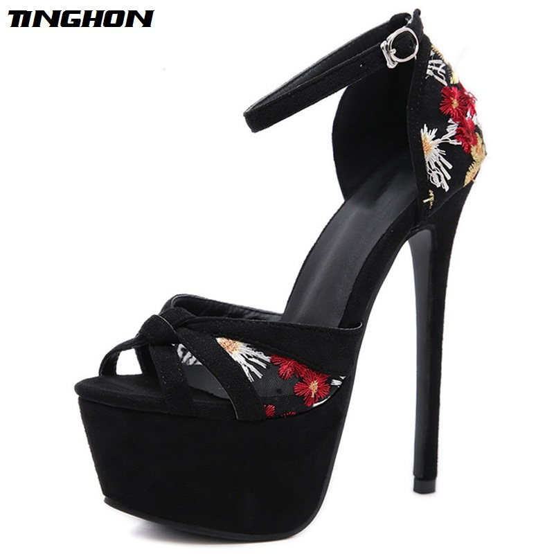 TINGHON Sexy Flock Sandals Women Fashion Embroider Thin High Heels Womens Shoes Shallow Cover Heel Dress Black Size 34-40