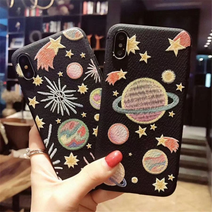 Carnoon Embroidery Star Moon Phone Cases For iPhone 6 6S Plus Cute Soft TPU+PU Back Cover For iphone 7 8 Plus X Funda Coque
