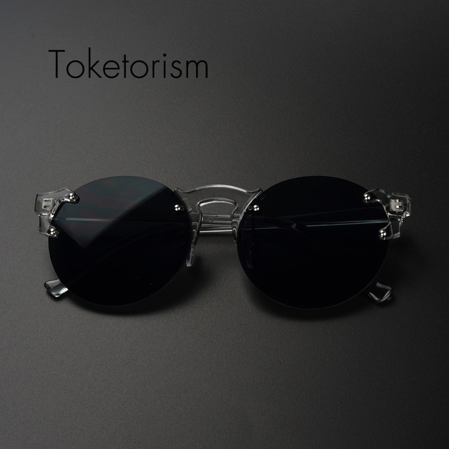 9f3952395a Toketorism 90s trendy designer sunglasses high quality round rimless shades  for women hipster accessories 2018