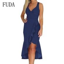 FUDA Women Summer Backless Lace-up Irregular Ruffles Dress Sexy V Neck Sleeveless Party Elegant Bohemian Beach Dresses