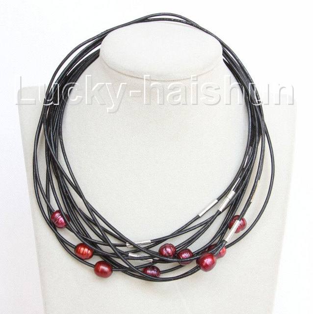 wholesale 10 piece 11mm wine red FW pearls Black leather necklace j10714