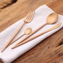 24 Pieces Rose Gold Cutlery Set Wedding Gold Flatware Set Dinner Forks Knives Spoons Set 18/10 Stainless Steel Silverware Set24
