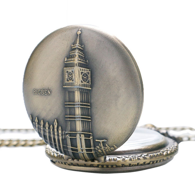 2016 Vintage London BIGBEN Design Quartz Pocket Watch Pendant Chain Retro Bronze Fashion Men Women Gift P82