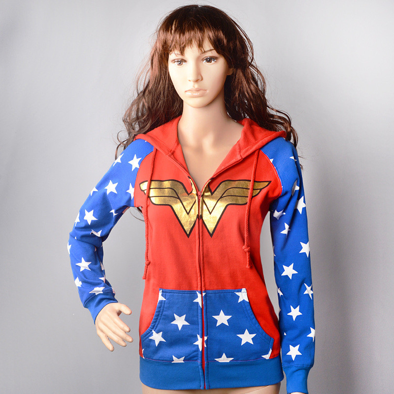 1pcs DC Comics WONDER WOMAN Costume Halloween Womens Cosplay Jacket Hoodies