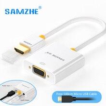 SAMZHE HDMI для VGA Адаптер Конвертер 1080 P Аудио и Видео Кабель с Блоком Питания и Аудио Выход для Монитора PS3 PS4 XBOX