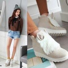Hot Sale Sweet Heart Slip On Women Flats Shoes 2016 Spring Autumn Winter Rabbit Ears Fashion Casual Girls Flats Plus Size 34-43