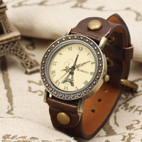 New 2015 Hot Sale Antique Classic Eiffel Tower Pattern Design Cute Girl Women Quartz Wristwatch Bracelet