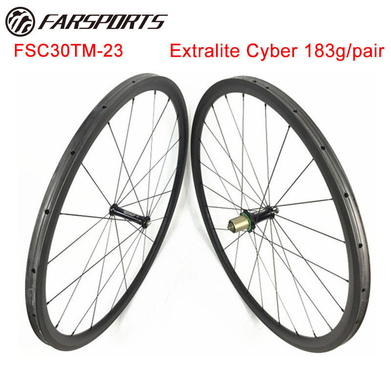 Extralite Cyber hubs 700C 30mm x 23mm tubular carbon cycling wheels , light weight 993g/set цена