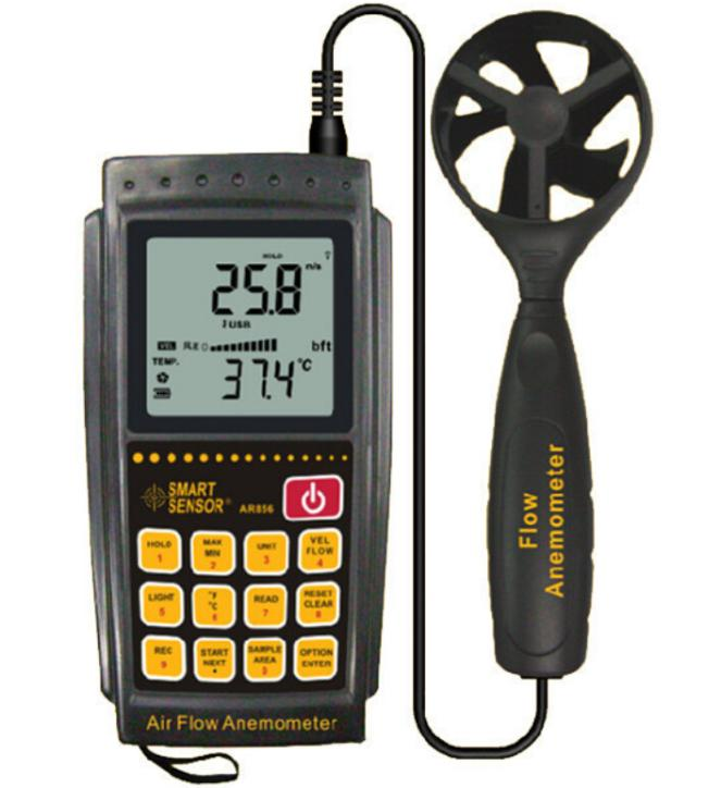 цена на Anemometer AR856 Wind Speed Gauge Wind Speed Measuring Range 0.3~45 m/s Air Flow Tester