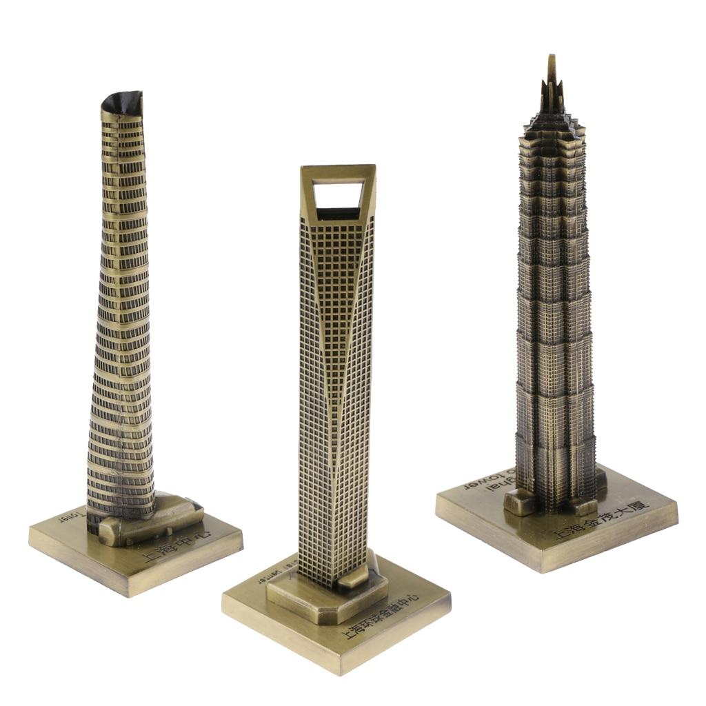 3 Pieces SHANGHAI SKYLINES ARCHITECTURE BUILDING REPLICA COLLECTIBLE SOUVENIR 6''