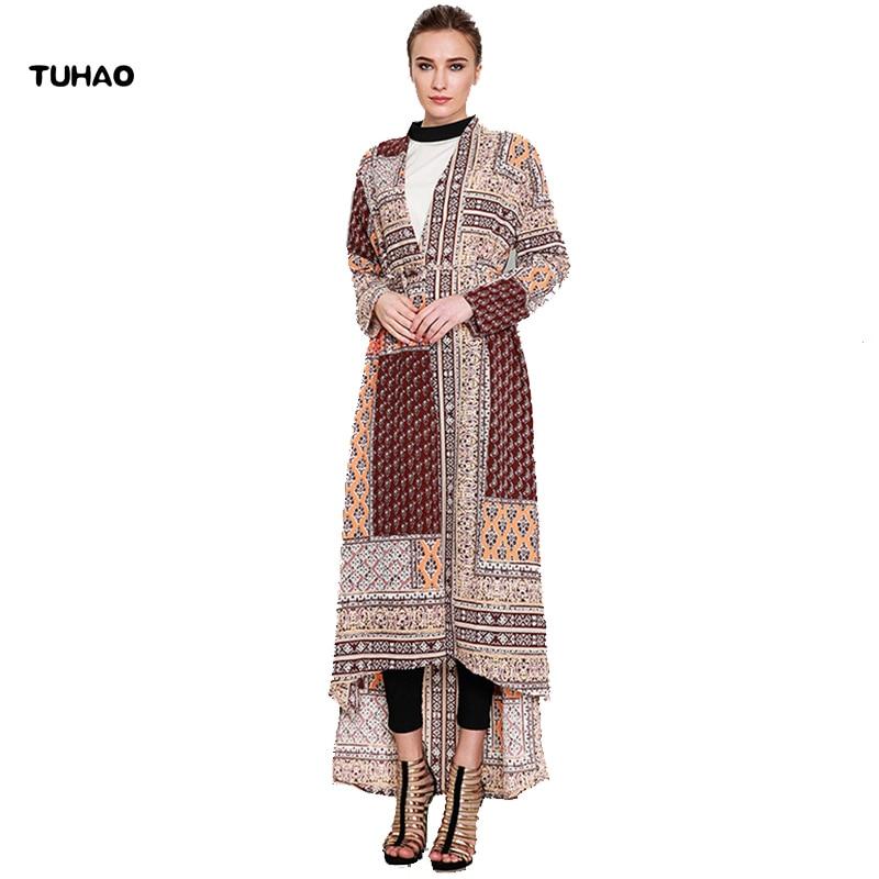 TUHAO Muslim Plus Size 5XL 4XL female   trench   Coat 2018 Women Spring Deicate Print Coats Vintage Female Fashionable Coat CM39