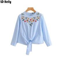 LD Helly nueva llegada mujeres rayas Bow tie blusa elegante floral Bordado Top o-cuello manga larga streetwear blusas Mujer