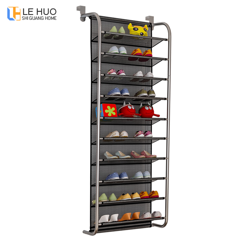 10-Tier Door Rear Shoe Rack Simple Wall-mounted Organizer Storage Shoe Cabinet Breathable-type Mesh Shelves Home Furniture