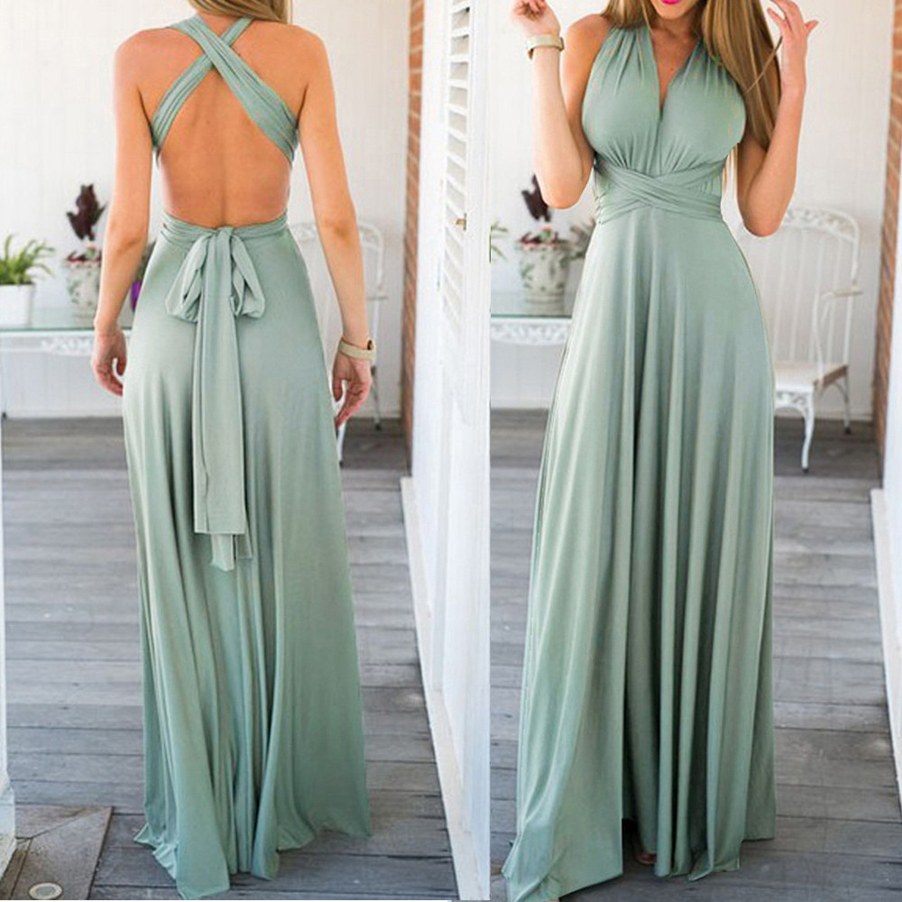 b70b346fac US $8.87 41% OFF|Sexy Long Dress Bridesmaid Formal Multi Way Wrap  Convertible Infinity Maxi Dress Navy Blue Hollow Out Party Bandage  Vestidos#H45-in ...