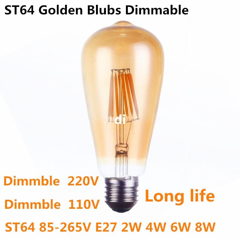 ST64 Intage LED Edison Filament Light Bulb Golden Led Dimmable E27 110V 220V ST64 2W 4W 6W 8W Blubs 360 Degree Energy Light Lamp