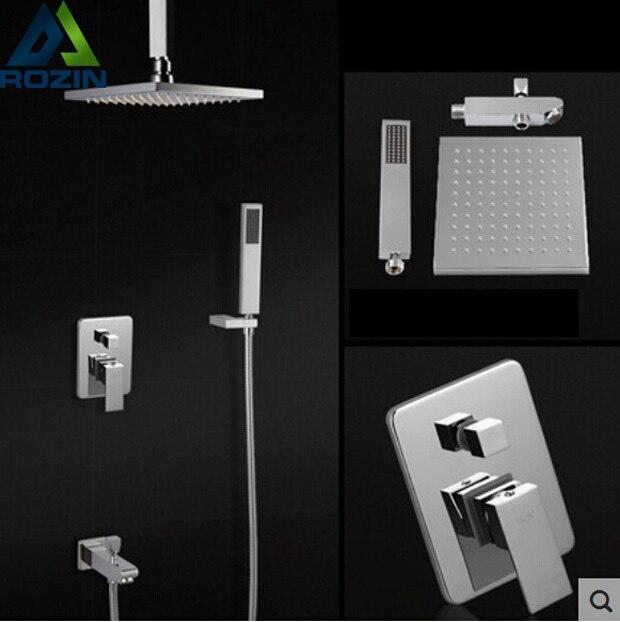 Polished Chrome Ceiling Mount Bath Shower Mixer Faucet Single Handle + Handshower + Tub Spout + 8 ABS Showerhead