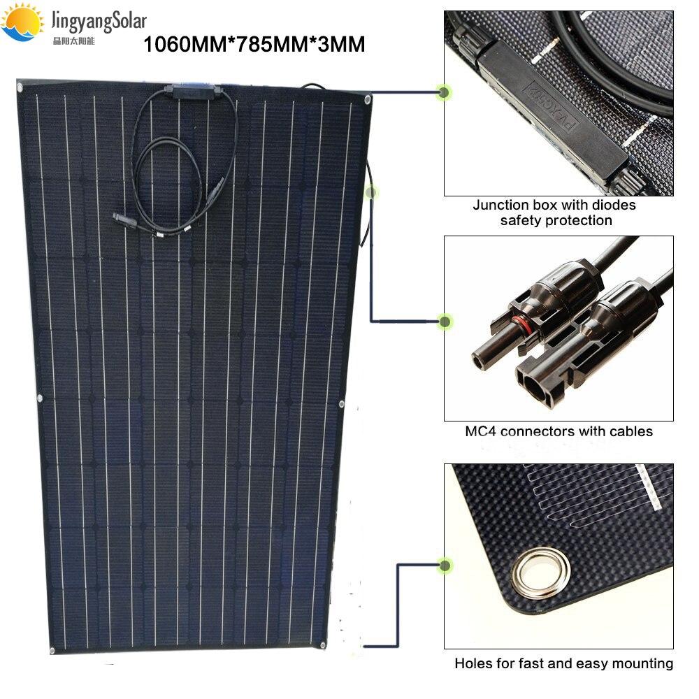 Czarny 150 w elastyczny panel słoneczny moduł solarny 24 V pół folia ETFE panel słoneczny do ładowarki zestaw systemu w Ogniwa słoneczne od Elektronika użytkowa na  Grupa 1