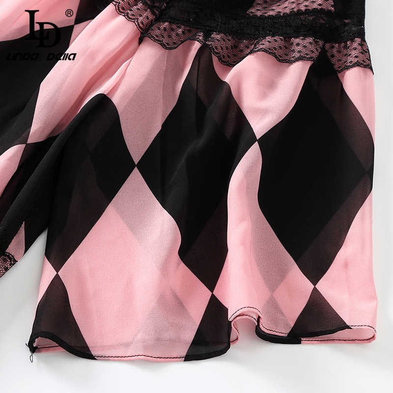 LD Linda della 2019 сезон: весна–лето модное платье Для женщин Flare рукав бант с принтом элегантные Винтаж вечерние длинные платья
