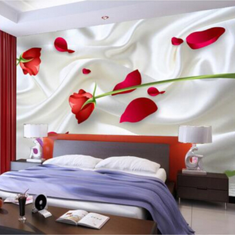 Custom Mural Wallpaper 3D Stereo Red Rose Sofa Background Wall Murals Non-woven Bedroom TV Backdrop Photo Wallpaper For Walls 3D