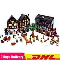 Лепин замок 16011 1601 шт. средневековый рынок деревня строительные блоки кирпичи игрушечные лошадки для детей Подарки Совместимость LegoINGlys 10193