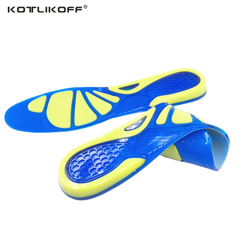 KOTLIKOFF Silicon Gel Insoles Foot Care for Plantar Fasciitis Heel Spur Running Sport Insoles Shock Absorption Pads men/women bocan gel insoles for spur plantar fasciitis insoles shock absorption comfortable shoe insoles gel for men and women