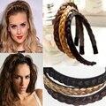 1 UNID Diadema Para Las Mujeres Accesorios Para el Cabello Cintas Para el Pelo de La Boda Hairband Trenzada Trenzado 2017 Trenzado Peluca Trenza Hairband Colorido