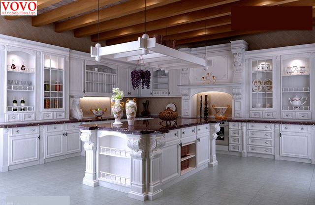 White American Style Kitchen Cabinet Design With Roman Column