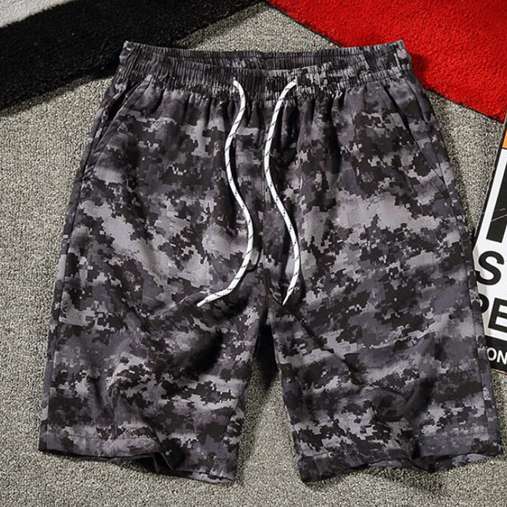 2019 New Hot Mens Camouflage Printing   Board     Shorts   Elastic Waist Drawstring Swimming Trunks Summer Quick Dry Surfing   Short   Homme