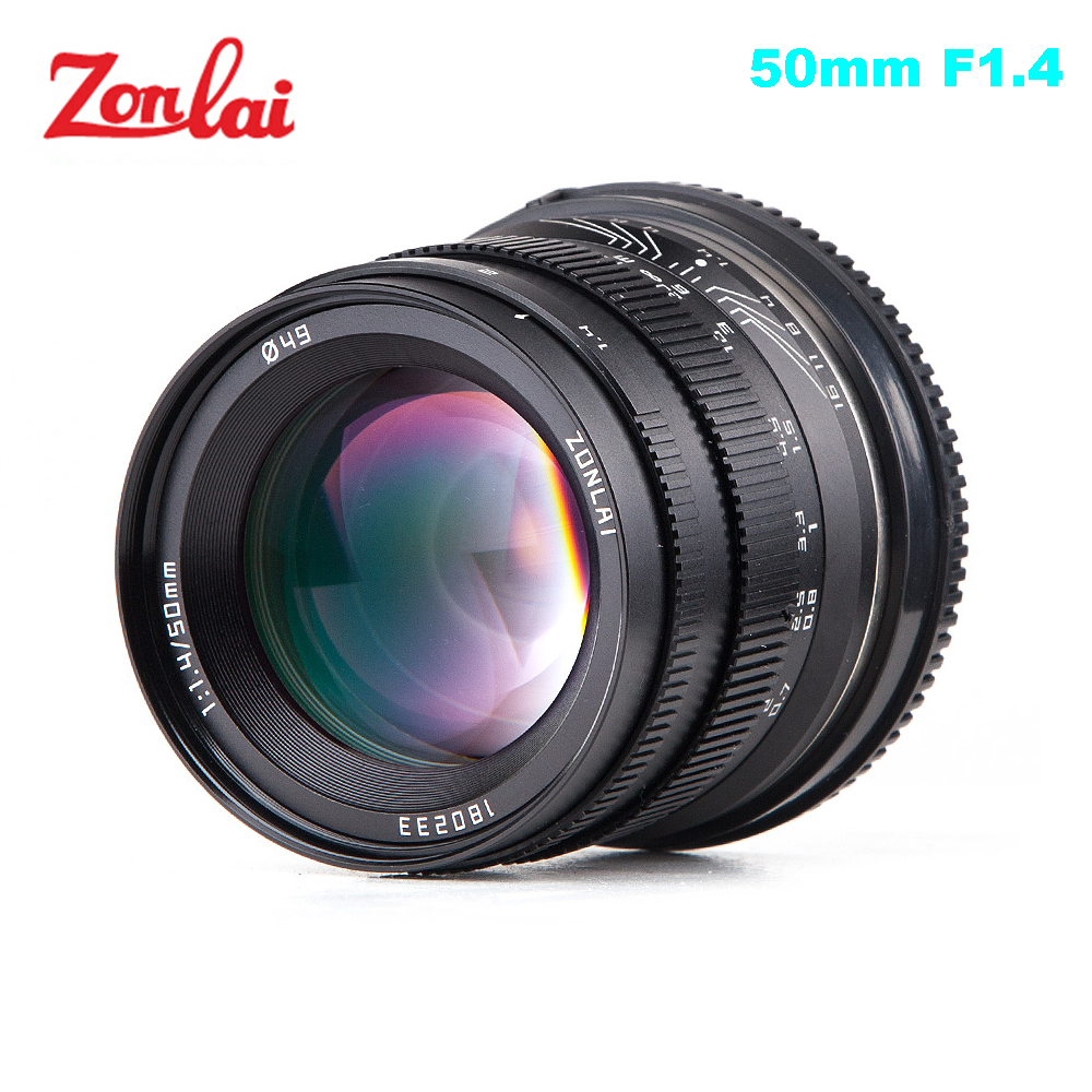 Zonlai 50mm F1.4 Prime Lens Large Aperture Manual Focus Lens 195g for Sony E-mount for Fuji Canon EOS-M Mount Mirrorless Camera image