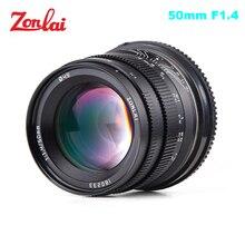 Zonlai lente de gran apertura F1.4 de 50mm, lente de enfoque Manual 195g para Sony e mount para Fuji Canon EOS M, montaje sin espejo
