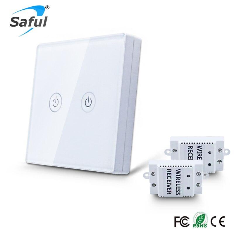 Saful inalámbrico Cotrol remoto 2 Gang2 vías táctil de pared interruptor 433 Mhz relé DC 110 V-240 V interruptor controlador para el hogar