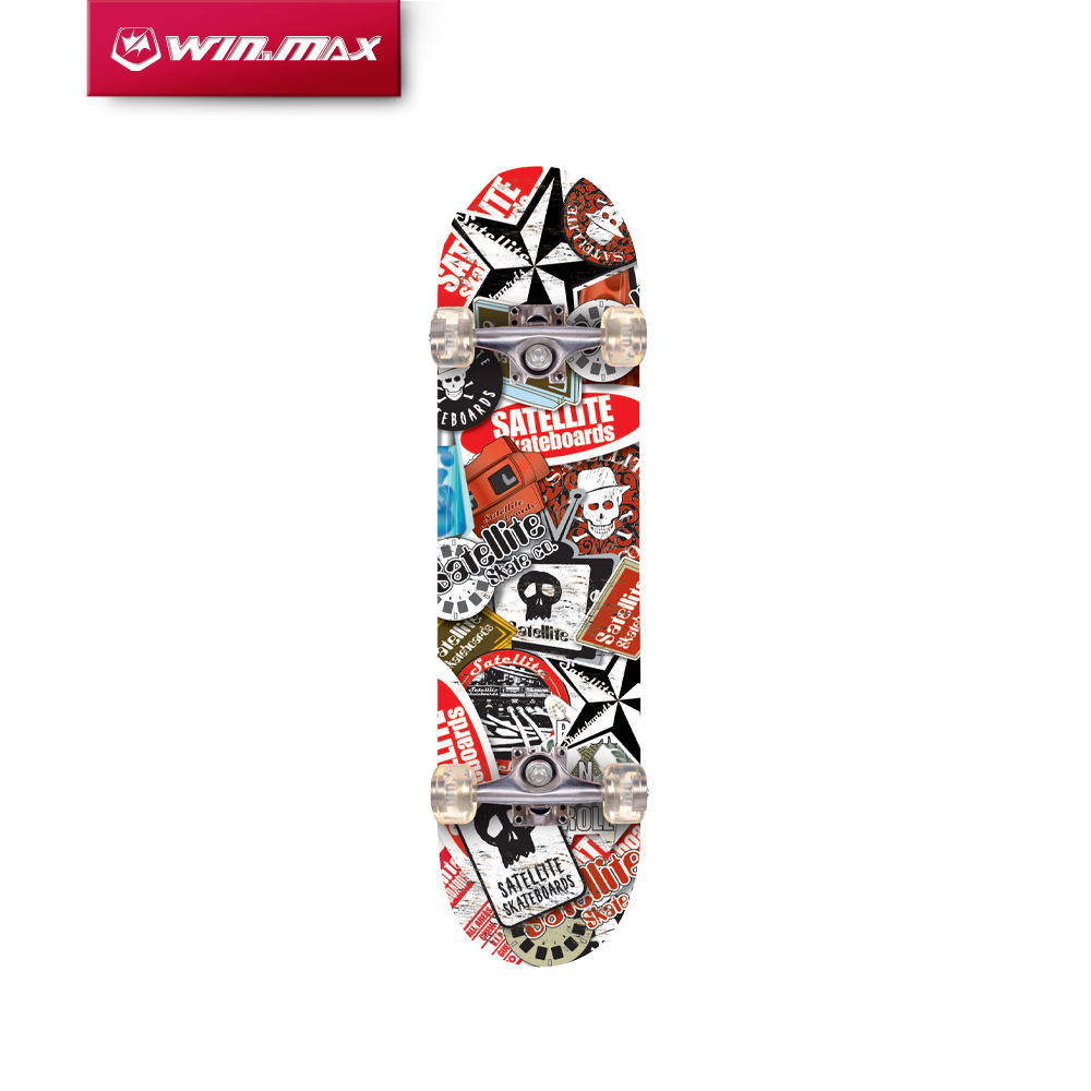 Winmax Outdoor Professional Heat Transfer Pattern Maple Longboard Skateboard för vuxna eller barn