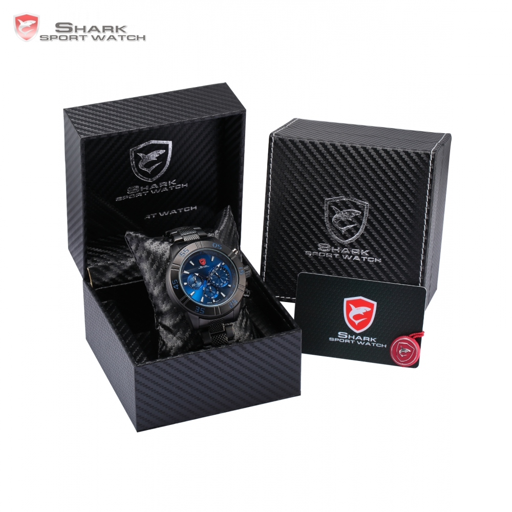 Luxury Leather Gift Box Sandbar Shark Sport Watch 3 Dial Chronograph 24Hr Full Black Steel Band Quartz Men Wristwatch /SH300-304 шейкер sport elite sh 300 850ml black