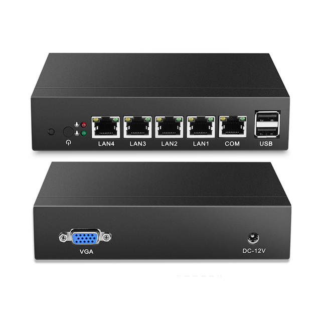 Fanless Mini PC Quad-Core Celeron J1900 J1800 4*Gigabit Ethernet LAN Router Firewall Mini Computer Desktop Windows 10/8/7 4-RJ45