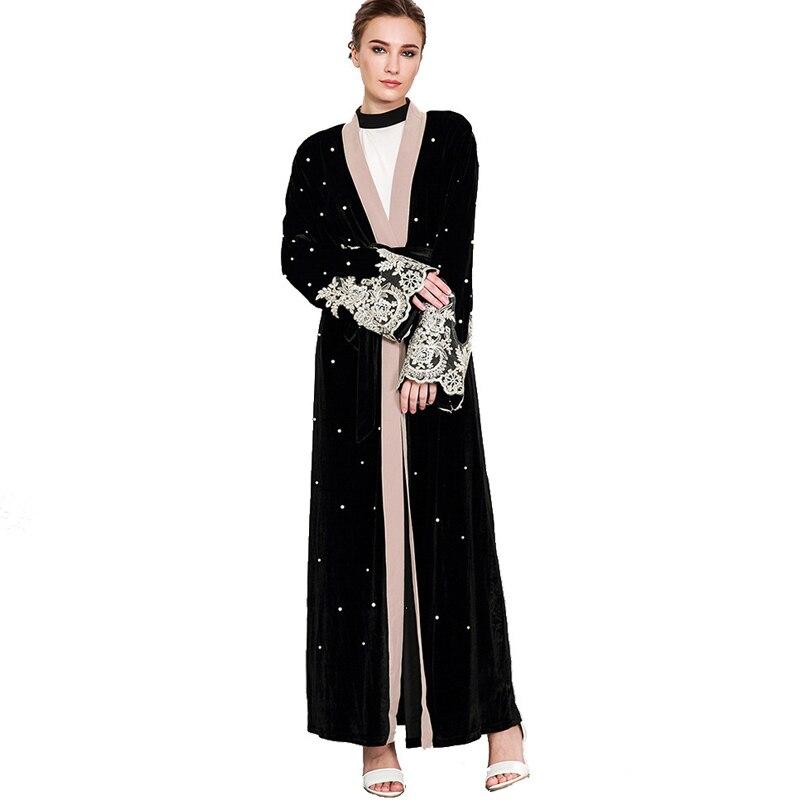 476f859e78a6e Plus Ukuran 2018 Beludru Abaya Kimono Muslim Wanita Panjang Renda Manik  manik Maxi Cardigan Gaun Dubai Turki Islam Doa Pakaian di Dresses dari  Wanita ...