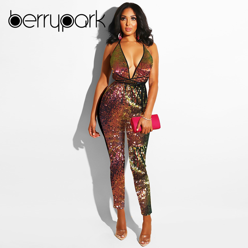 b57550dc1e1 BerryPark High Street High Quality Colorful Glitter Sequin Jumpsuit 2019  Winter Women Sexy Deep V Neck Backless Bandage Rompers